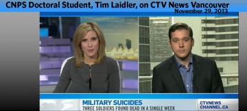 Tim Laidler on CTV News, discusses recent military suicides